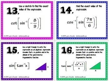 Inverse Trig Functions Task Cards Organizer Plus HW,  QR, and  Organizer