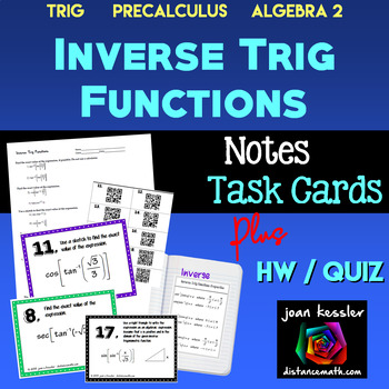 Inverse Trig Functions Task Cards Organizer