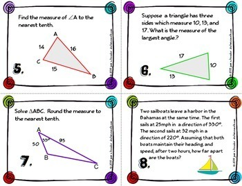 Trigonometry Law of Cosines Task Cards