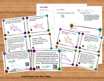 Trigonometry Law of Cosines Task Cards plus HW