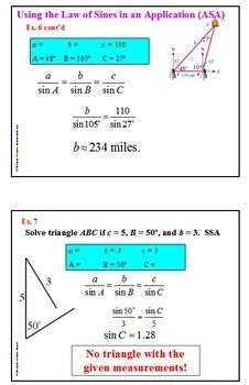 Trigonometry Law of Sines PowerPoint and more