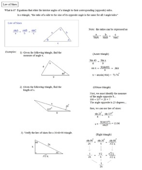 Law Of Sines And Cosines Notes Worksheets & Teaching ...