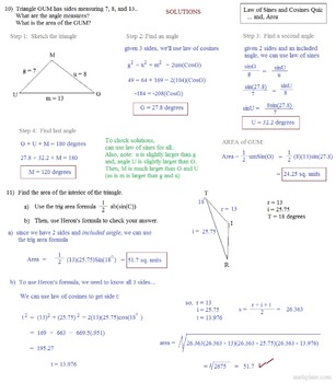 Trigonometry Law of Sines and Cosines & Area of Triangles