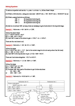Trigonometry Notes + Basic Trigonometric Identities