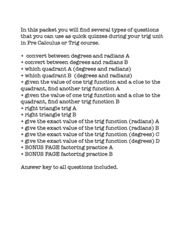 Trigonometry Practice Quick Quizzes - Unit Circle Right Triangle Trig
