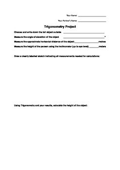 Trigonometry Project (Outside Activity) - Includes Rubric
