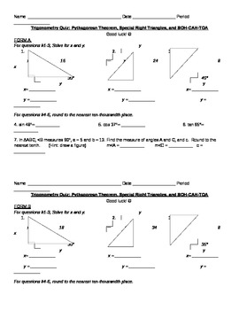 Trigonometry Quiz (Special Right Triangles and SOH-CAH-TOA)