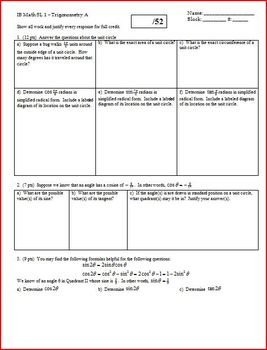 Trigonometry Quiz Spring 2012 - Two Versions - 2 sides of a page each (Editable)