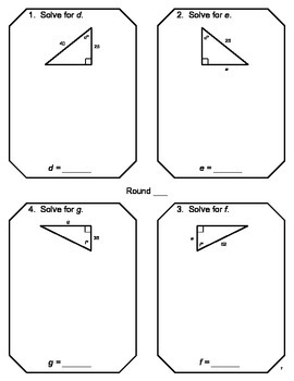 Trigonometry - RELAY RACE Game Sample (1 page)