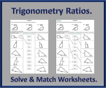 Trigonometry Ratios Activity Worksheets.