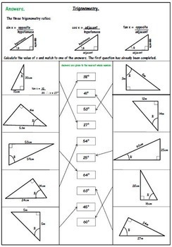 Right Triangle Trigonometry Worksheet - SOH CAH TOA