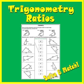 Right Triangle Trigonometry Worksheet - SOH CAH TOA by 123 Math | TpT