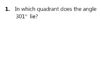 Trigonometry Review Activity - Determining Quadrants of Angles