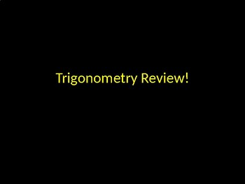 Trigonometry Review Game Activity