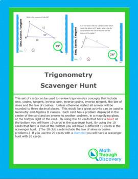 Geometry:  Trigonometry Scavenger Hunt