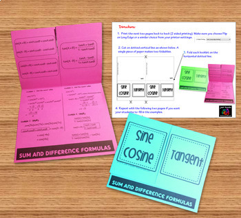 Trigonometry Sum and Difference Identities Task Cards plus Foldable Organizer