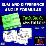 Trigonometry Sum and Difference Identities Task Cards plus Foldable Organizer HW