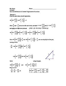 Trigonometry Sum And Difference Identities With Inverse Trigonometric