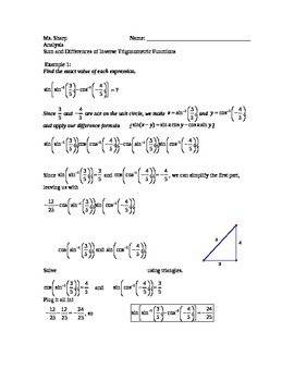 Sum And Difference Identities Worksheets & Teaching ...