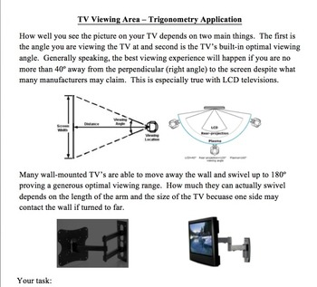 Trigonometry TV Viewing Application Activity