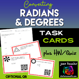 Converting Radians and Degrees Task Cards with QR and Quiz  plus more