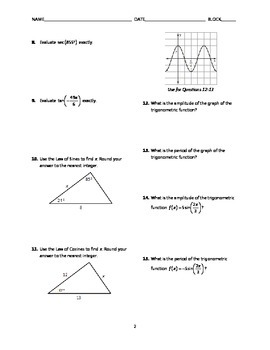 Trigonometry Test BUNDLE