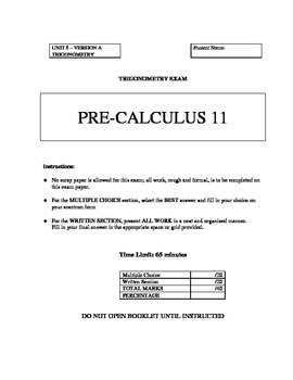 Trigonometry Test A with FULL SOLUTIONS