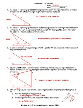 Trigonometry Test Review - Worksheet and Solutions | TpT