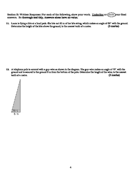 Trigonometry Test (Version 1) - with Solutions