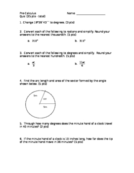 Trigonometry Tests and quizes