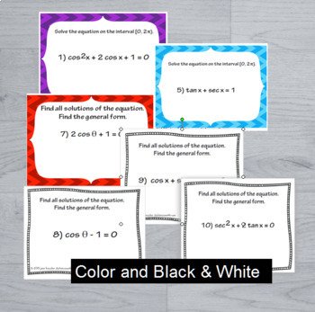 Trigonomteric Equations Task Cards plus PowerPoint Examples