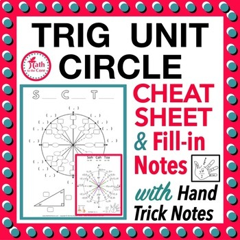 Unit Circle Trigonometry Cheat Sheet