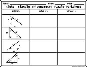 Trigonometry: Valentine's Day Missing Sides/Angles Cut, Paste, Match Puzzle