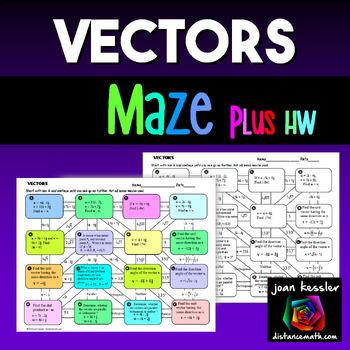 Vectors Maze for End of Unit  Trigonometry PreCalculus plus HW