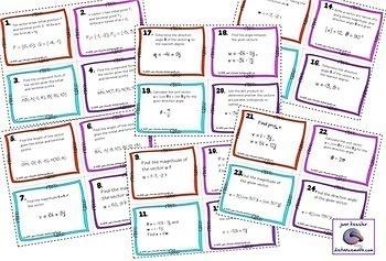 Trigonometry Vectors Task Cards Quiz  HW and Graphic Organizer