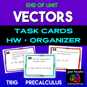 Vectors Task Cards Quiz  HW and Graphic Organizer