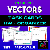 Vectors End of Unit Task Cards Quiz  HW and Graphic Organizer