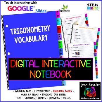 Trigonometry Vocabulary Interactive Digital Notebook  GOOG