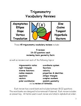 Trigonometry Vocabulary Reviews