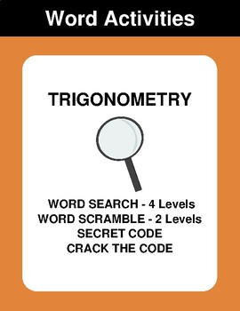 Trigonometry - Word Search, Word Scramble,  Secret Code,  Crack the Code