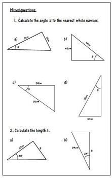 Trigonometry Worksheets - SOH CAH TOA