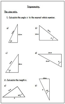 Trigonometry Worksheets - SOH CAH TOA by 123 Math | TpT