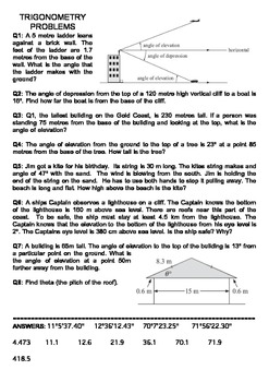 Trigonometry Worksheets-Finding Sides, Angles & Problems