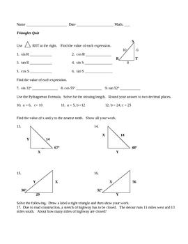 Trigonometry and Triangles Quiz