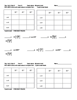 Trigonometry quiz on exact values (2 different forms)