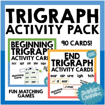 Trigraph Activity Card Games PACK - for word work or reading practice