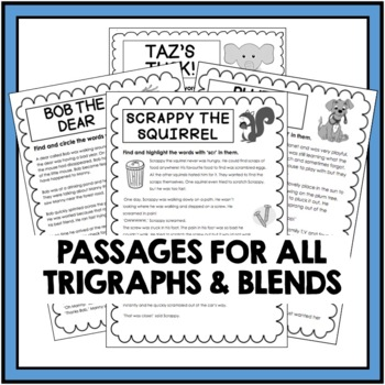 Trigraph and Blends Bundle - Stories and Comprehension Activities