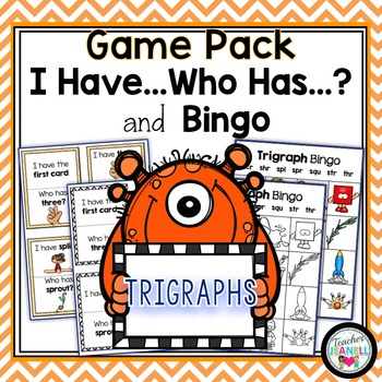 Trigraphs (3 Letter Blends) - I Have, Who Has and Bingo Game Pack