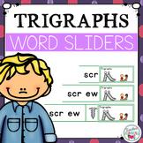 Trigraphs 3 Letter Blends Segmenting and Blending Cards - Word Sliders