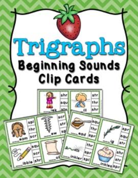 Trigraphs Beginning Sounds Clip Cards